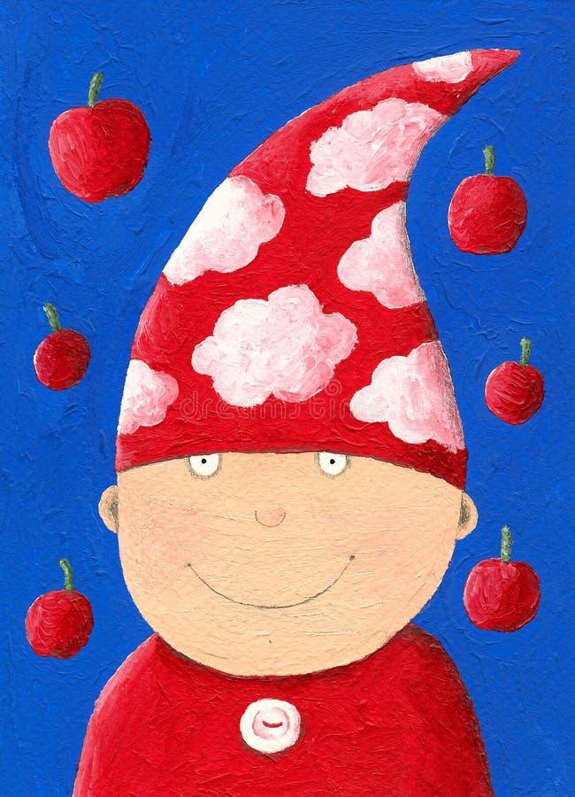Anão com chapéu vermelho ilustração do vetor
