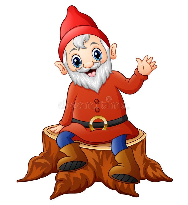 Anão dos desenhos animados que senta-se no coto de árvore ilustração royalty free