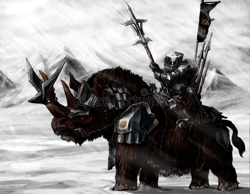 Anão militar em um rinoceronte ilustração stock