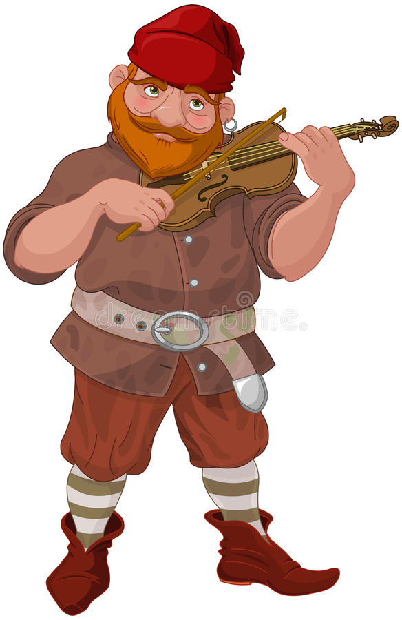 Anão que joga o violino ilustração royalty free