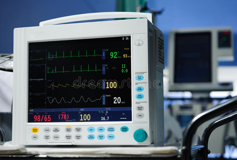 Anästhesieüberwachungsgerätbeschreibung stockfotografie