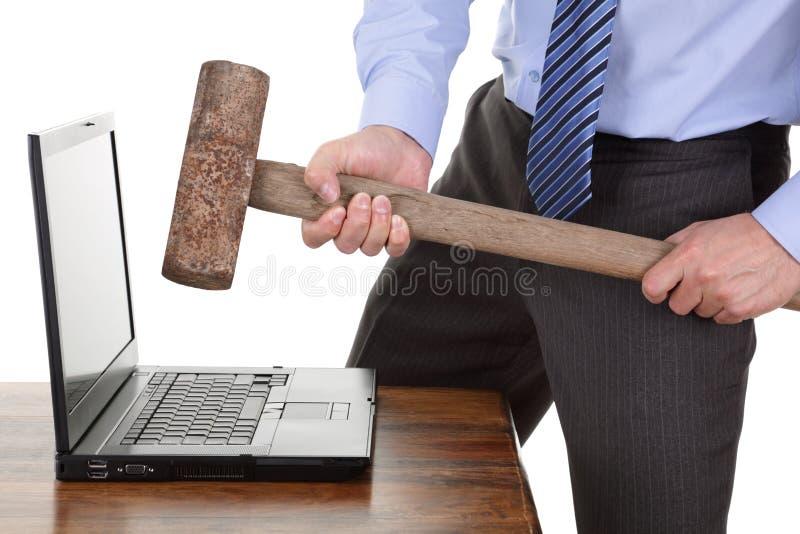 Anéantissement d'ordinateur photo libre de droits