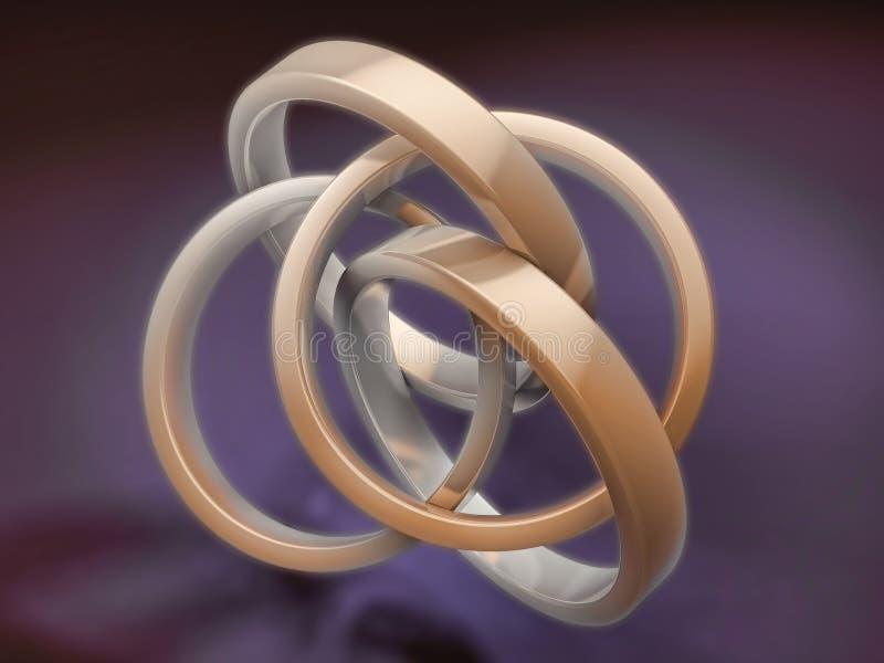 Anéis brilhantes do metal 3d ilustração royalty free