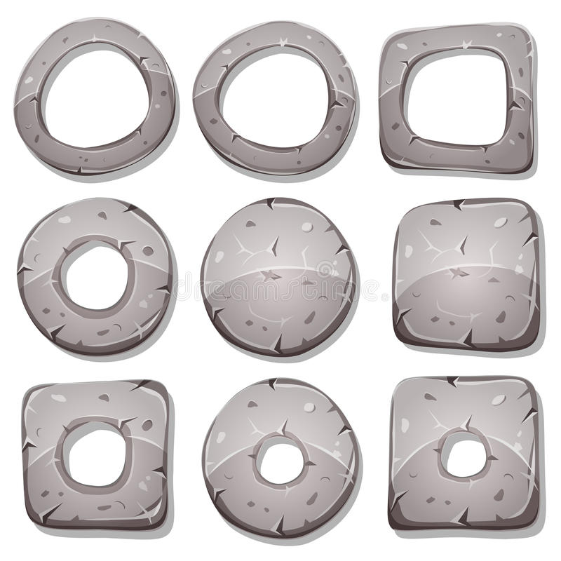 Anéis, círculos e formas de pedra para o jogo de Ui ilustração do vetor