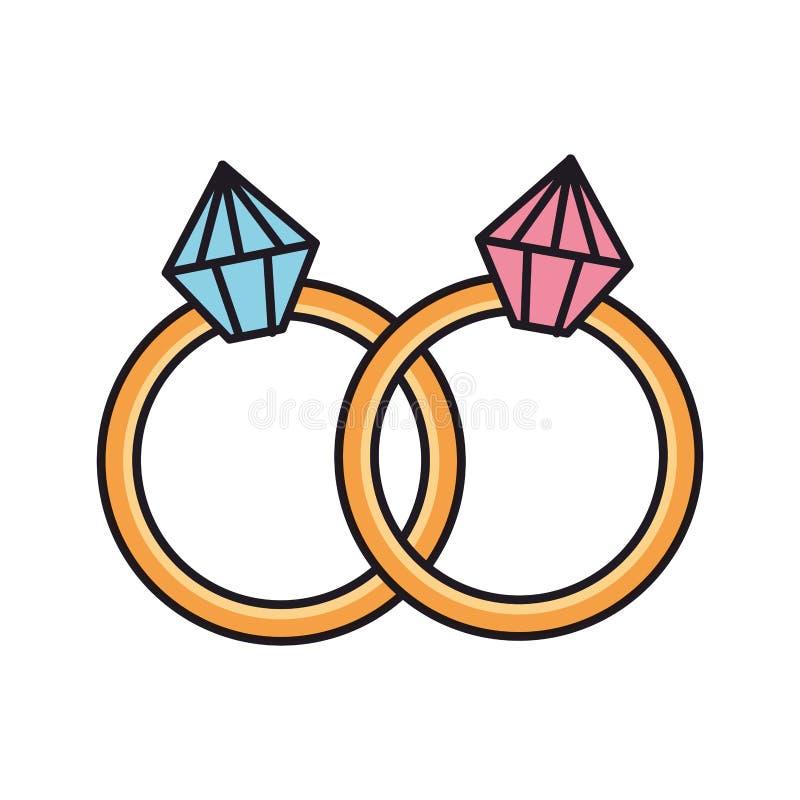 Anéis com ícones dos diamantes ilustração royalty free