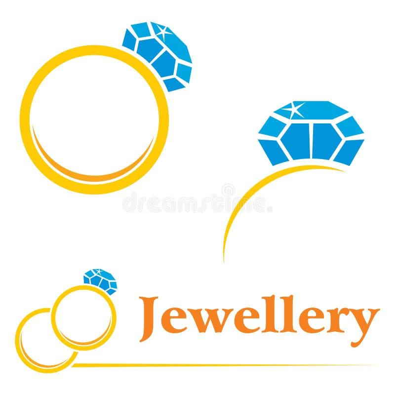 Anéis com diamante ilustração royalty free
