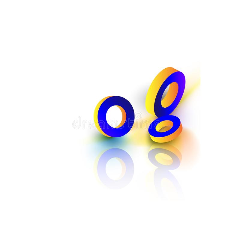 Anéis 3d geométricos amarelos e azuis no fundo branco ilustração do vetor