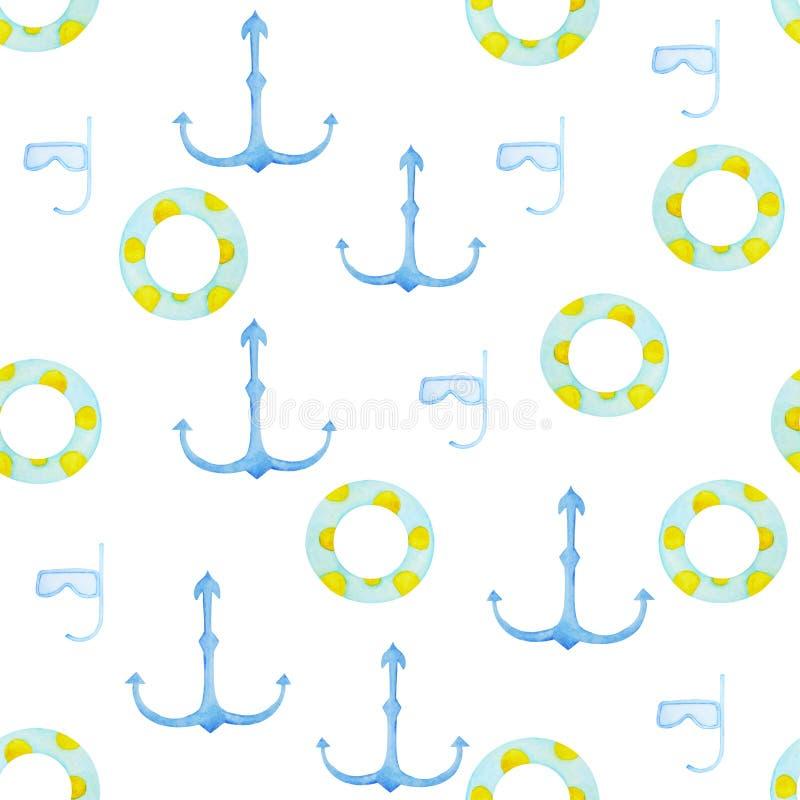 Anéis da nadada de Waterclolr e teste padrão da âncora Brinquedo de borracha inflável Círculo da natação da vista superior para o ilustração do vetor