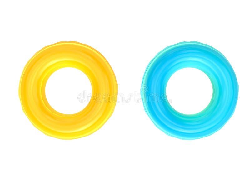 Anéis da nadada isolados no branco imagens de stock