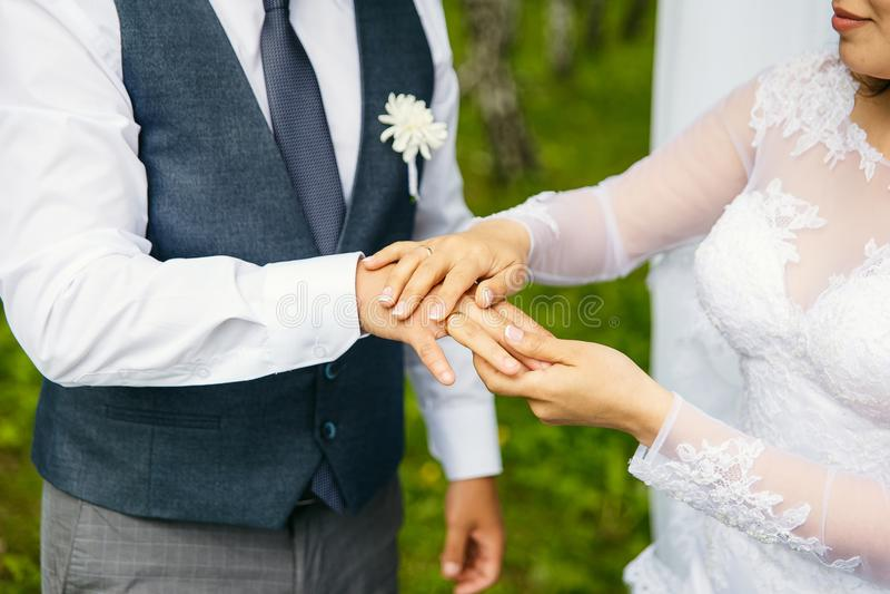 Anéis da troca dos noivos foto de stock royalty free