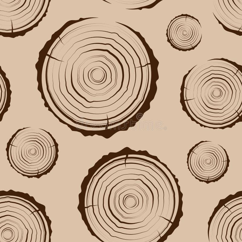 Anéis de árvore sem emenda A serra cortou o fundo do tronco de árvore Seção transversal do tronco com anéis de árvore ilustração do vetor