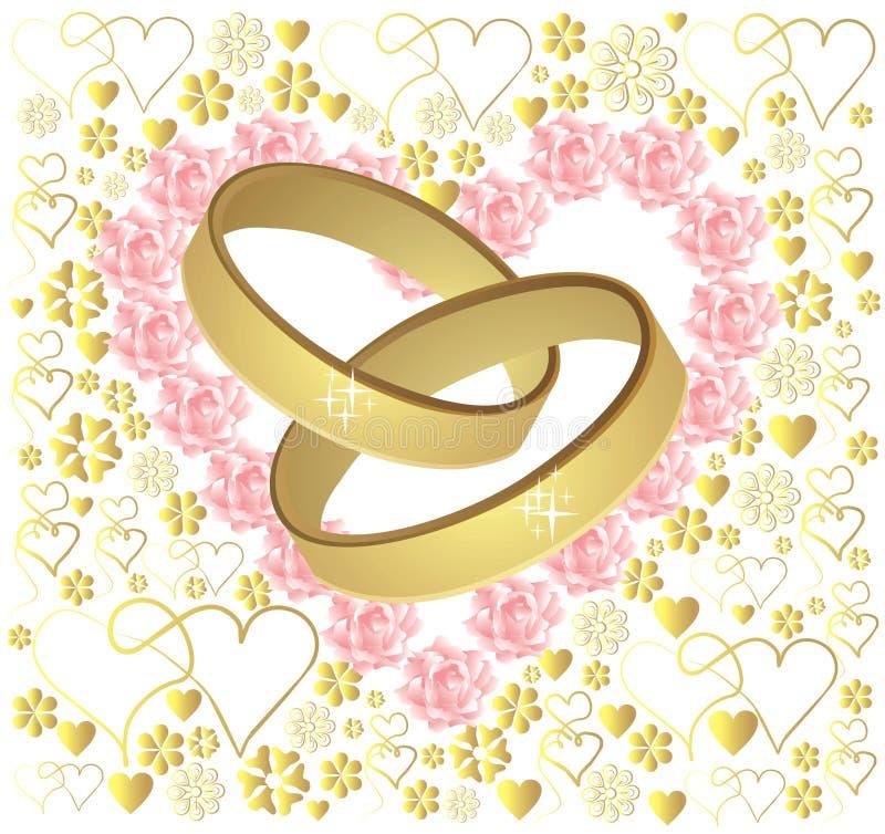 Anéis de casamento do ouro ilustração do vetor