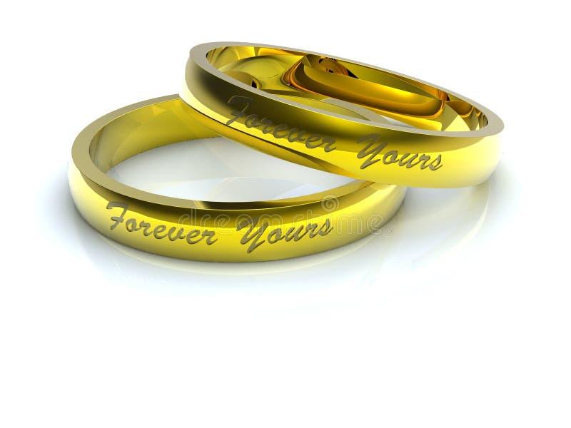 Anéis de casamento dourado ilustração do vetor