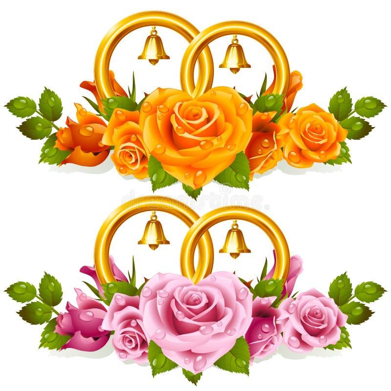Anéis de casamento e grupo das rosas ilustração royalty free