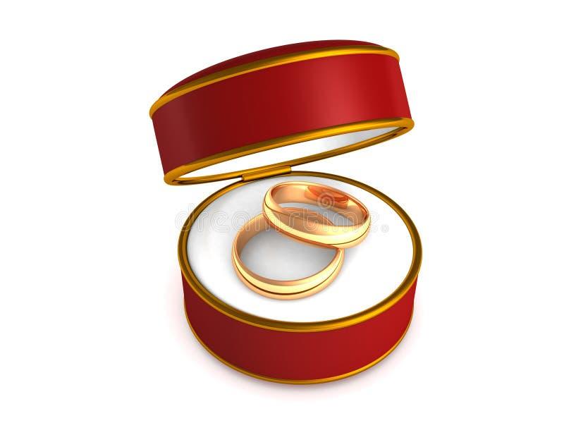 Anéis de casamento na caixa de presente vermelha ilustração stock
