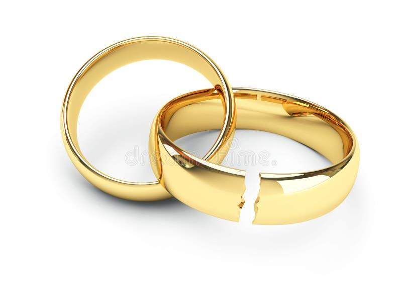 anéis de casamento quebrados ouro ilustração stock