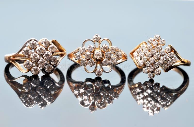 Anéis de diamante fotografia de stock