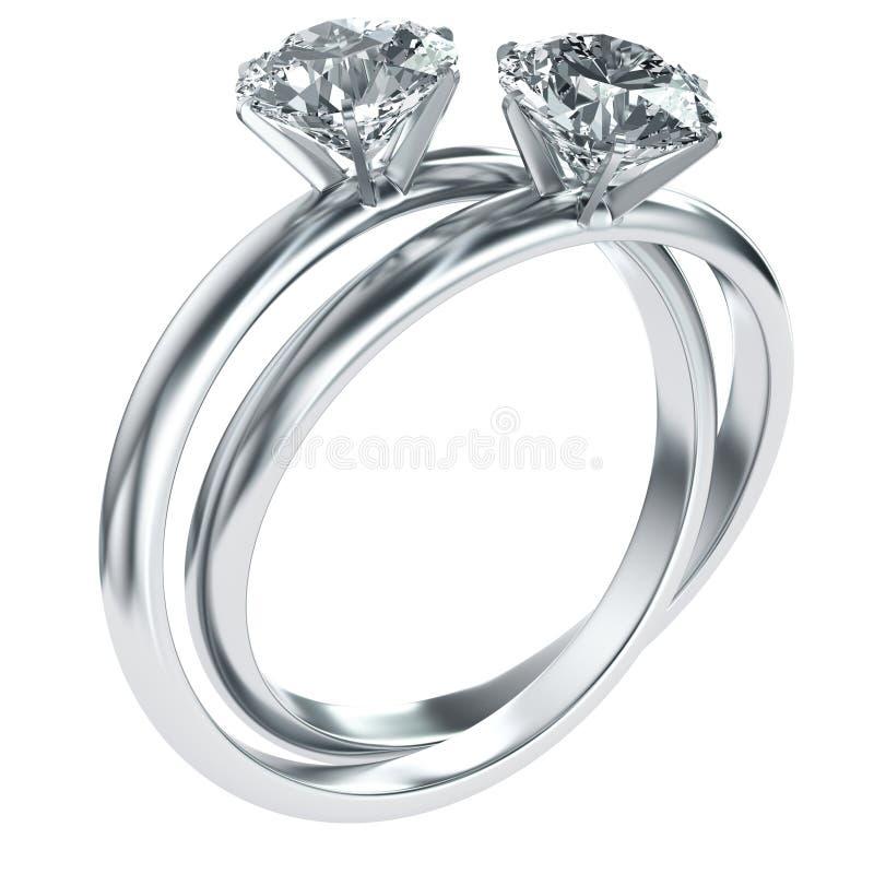 Anéis de diamante entrelaçados ilustração stock