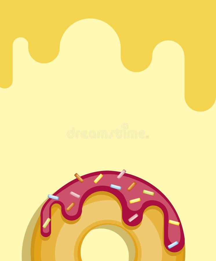 Anéis de espuma coloridos isolados no fundo pastel amarelo Filhós da vista superior ilustração royalty free