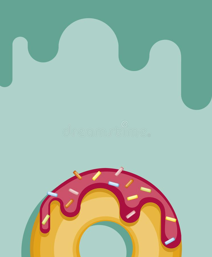 Anéis de espuma coloridos isolados no fundo pastel azul Filhós da vista superior ilustração royalty free
