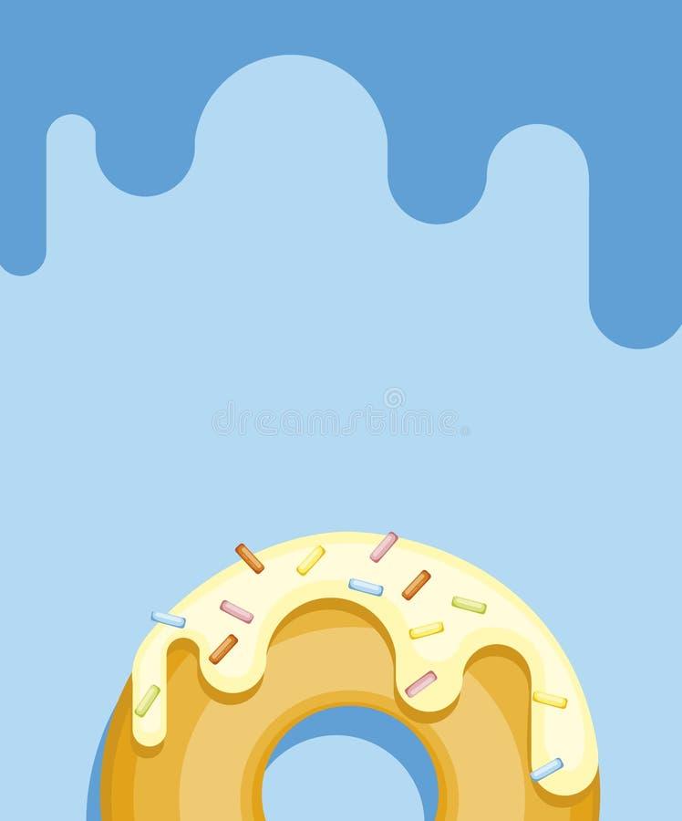 Anéis de espuma coloridos isolados no fundo pastel azul Filhós da vista superior no esmalte branco ilustração royalty free