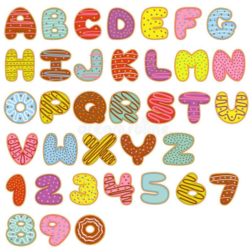 Anéis de espuma do doce do alfabeto e dos números ilustração royalty free