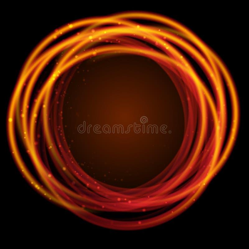 Anéis de incandescência do fogo do ouro com efeitos da luz ilustração stock