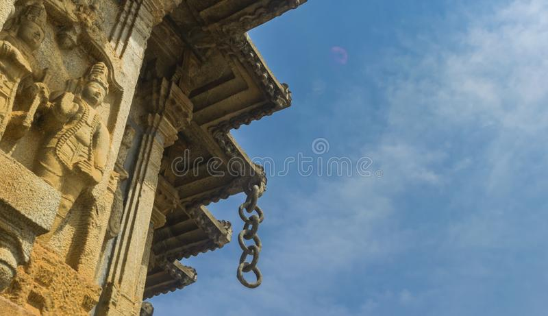 Anéis de pedra - dentro do templo de Sringeri foto de stock