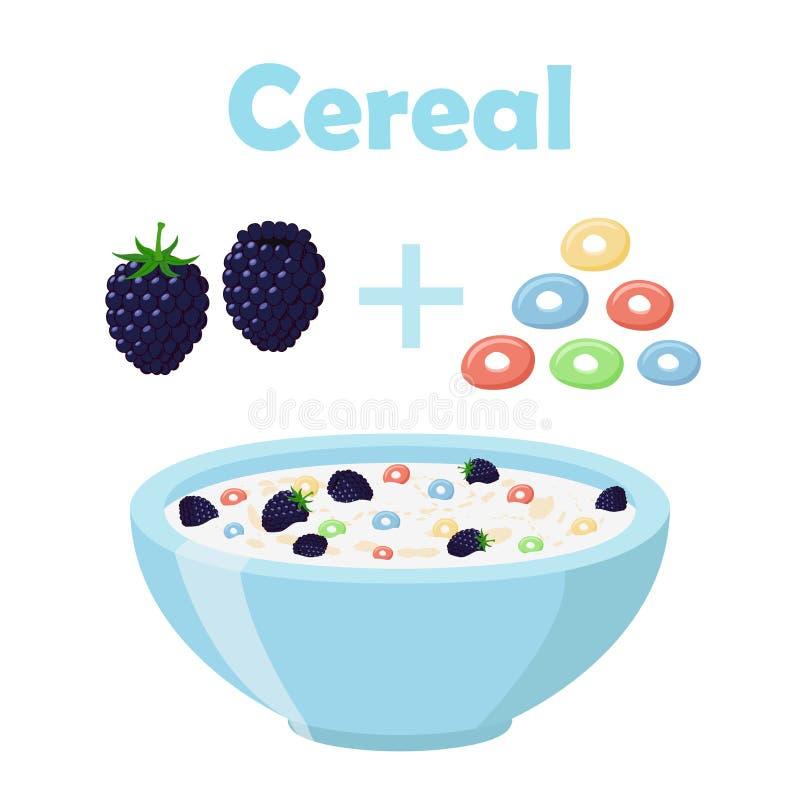 Anéis do cereal, amora-preta com bacia Café da manhã orgânico da farinha de aveia com leite ilustração royalty free