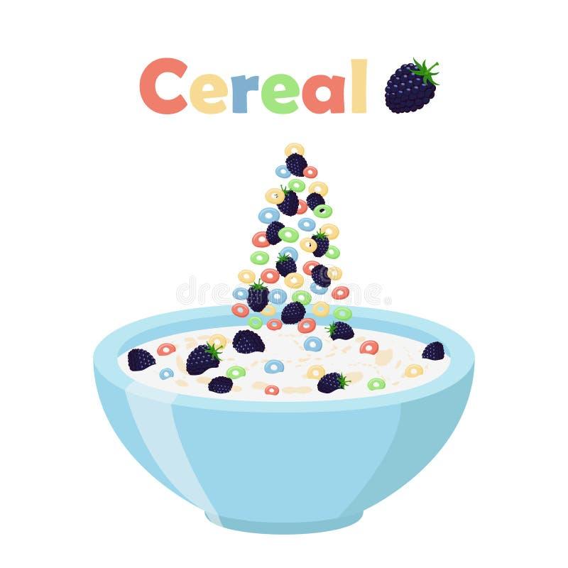 Anéis do cereal, amora-preta com bacia Café da manhã orgânico da farinha de aveia com leite ilustração do vetor