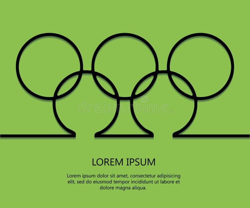Anéis do fundo do esboço com texto Molde olímpico do cartão Brazill 2016 minimalism Eps 10 Vetor ilustração royalty free