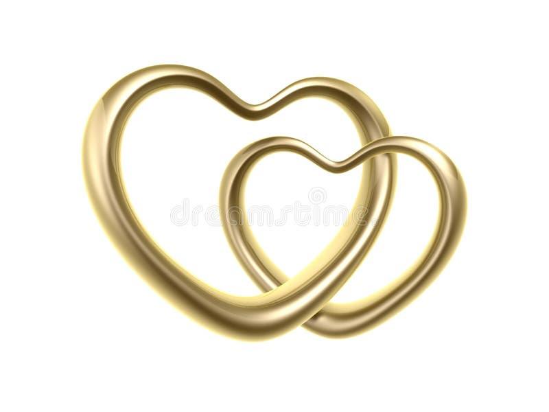 Anéis dourados do coração do amor ilustração stock