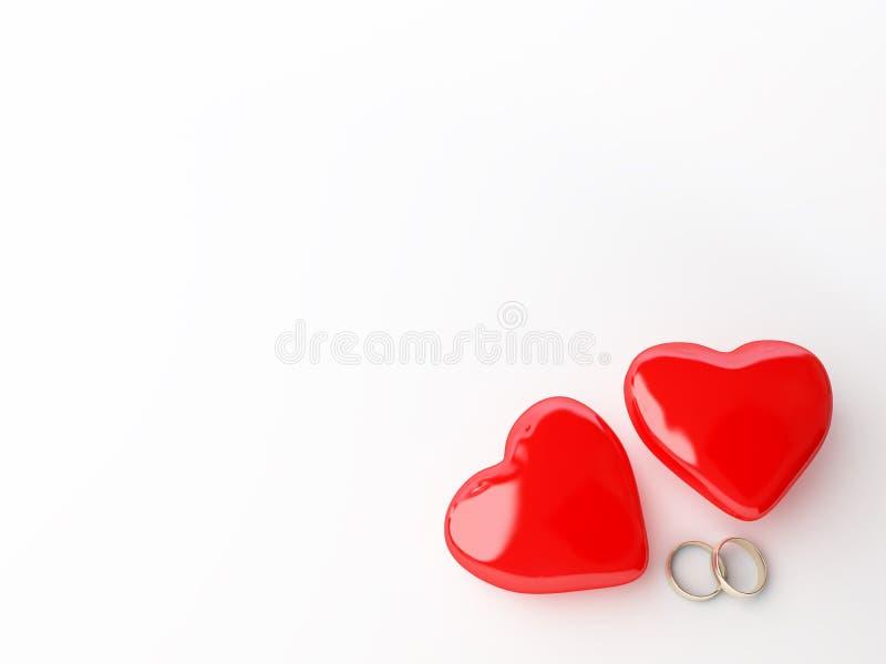 Anéis e coração de casamento ilustração royalty free