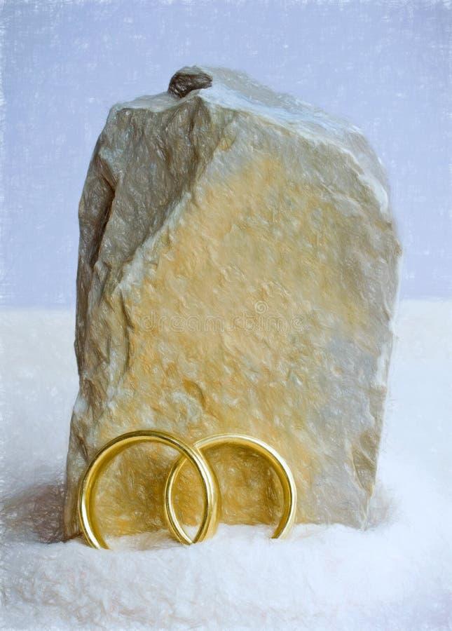 Anéis e rocha ilustração stock