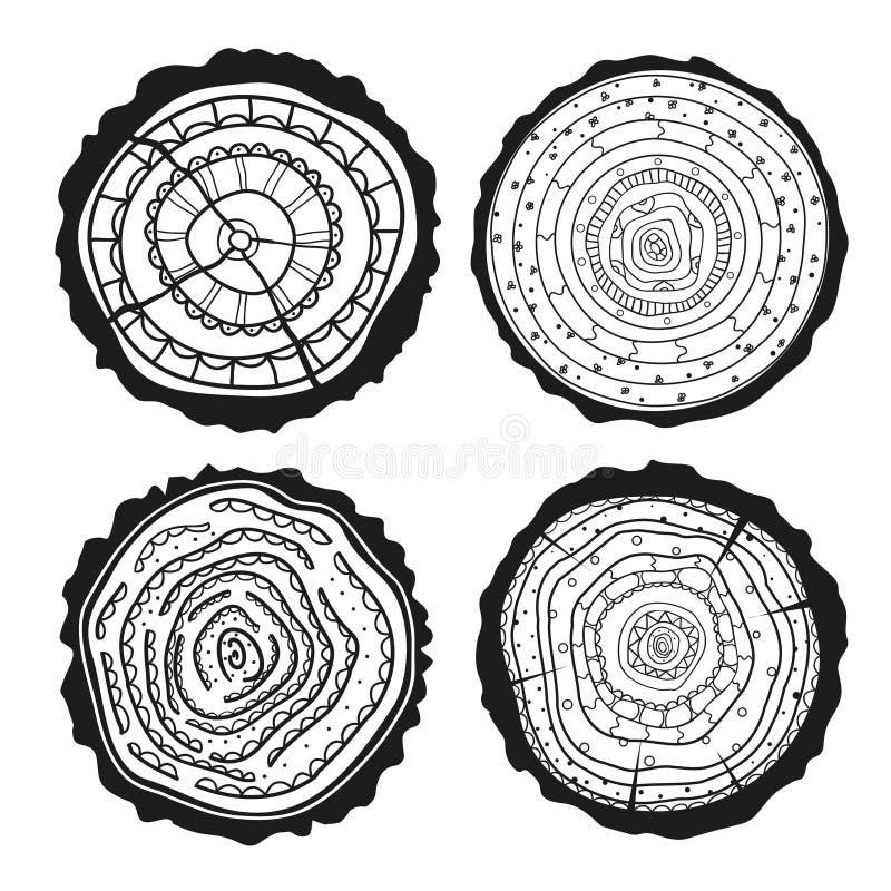 Anéis em um longo Grupo de seção transversal ilustração do vetor