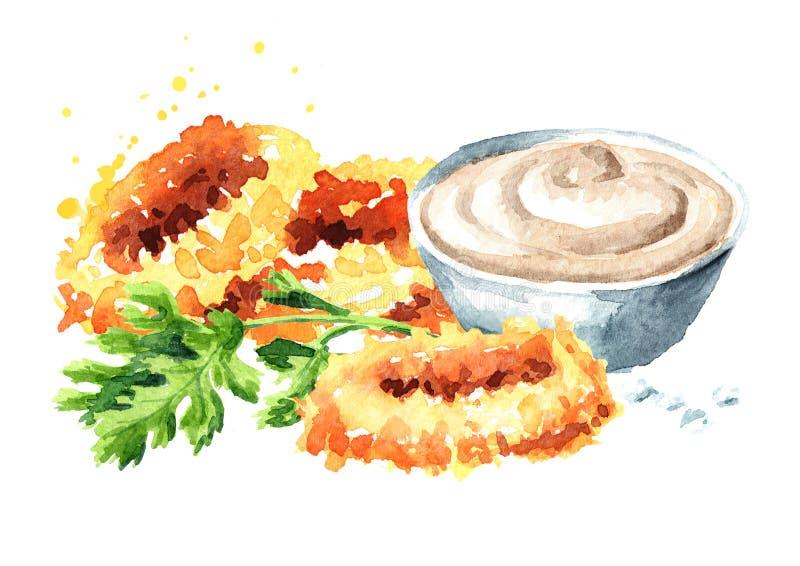 Anéis fritados do calamar com e molho, marisco, ilustração tirada mão da aquarela isolada no fundo branco ilustração royalty free