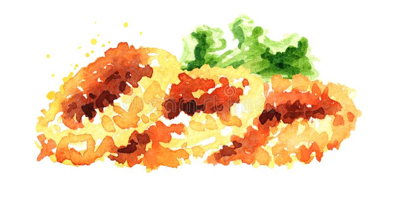 Anéis fritados do calamar, marisco, ilustração tirada mão da aquarela isolada no fundo branco ilustração stock