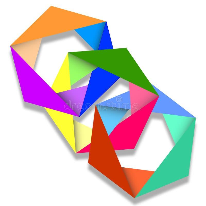 Anéis ligados do origâmi ilustração do vetor