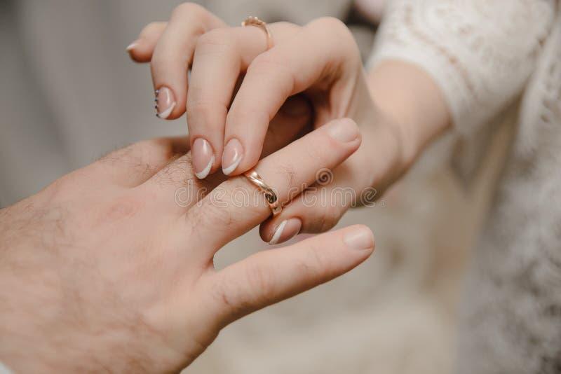 Anéis novos da troca dos pares na cerimônia de casamento fotografia de stock royalty free