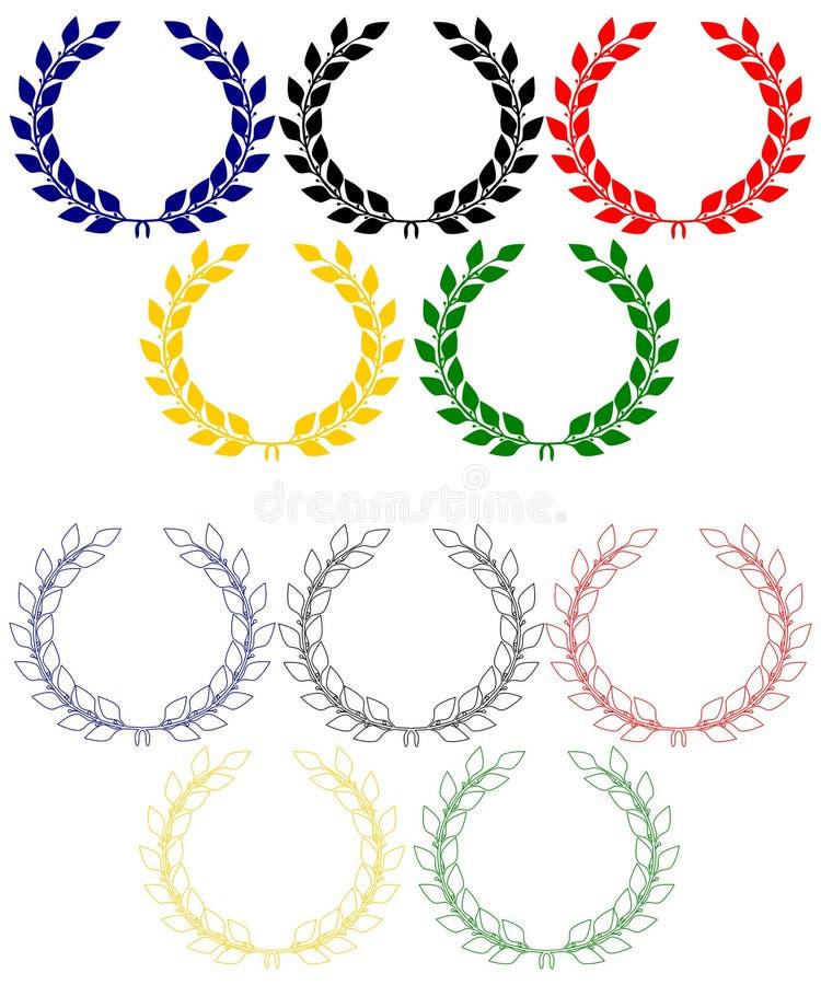 Anéis olímpicos das grinaldas do louro