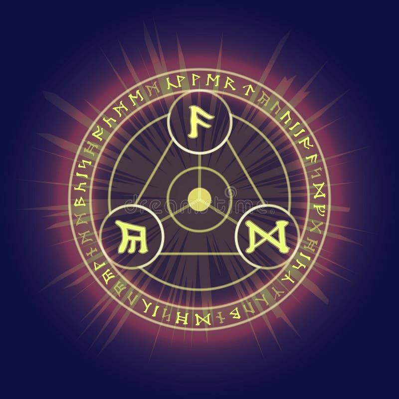 Anéis rituais pagãos com símbolos rúnicos celtas ilustração do vetor