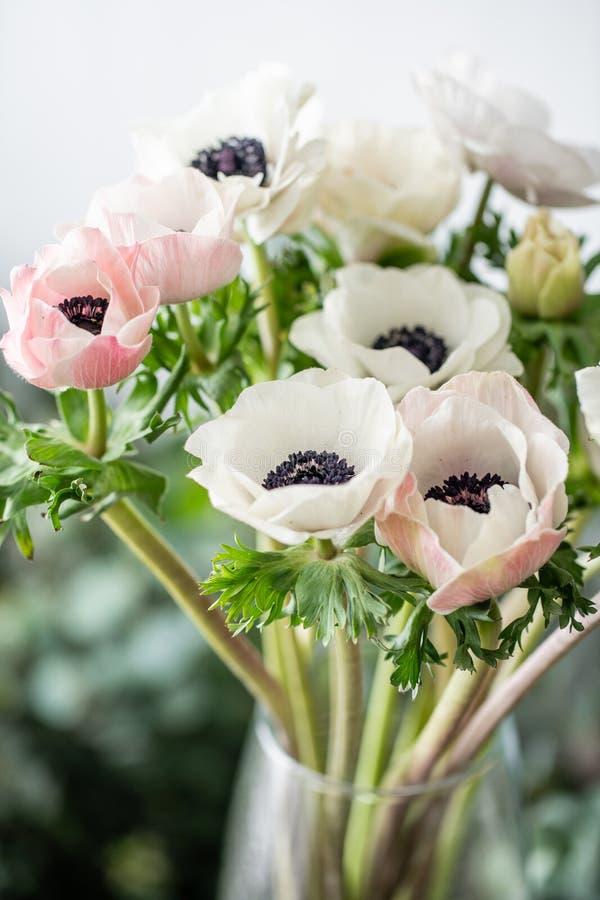 Anémonas del rosa y blancas en el florero de cristal Color en colores pastel del manojo el concepto de un florista en una florist fotografía de archivo libre de regalías