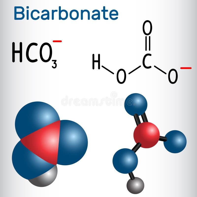 Aníon HCO3 do bicarbonato - fórmula química e mol estruturais ilustração royalty free