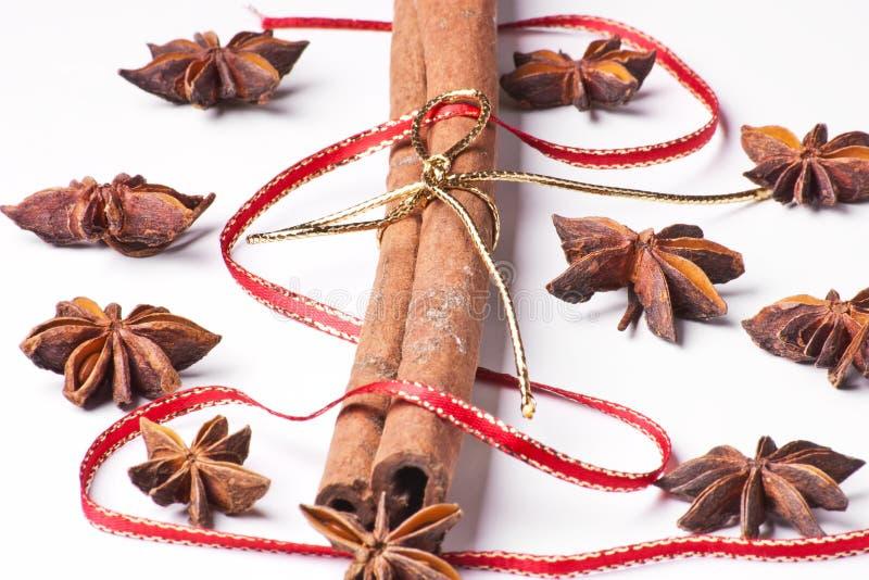 Anís de estrella con canela y la cinta imagen de archivo libre de regalías