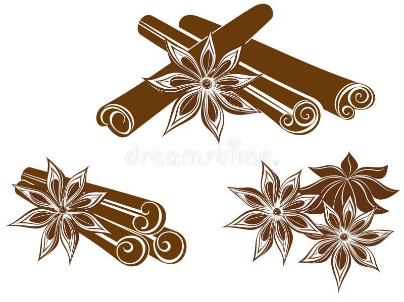 Anís de estrella con los palillos de canela stock de ilustración