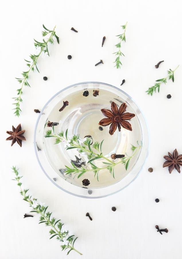 Anís de estrella infundido agua de Antifungical herbario foto de archivo