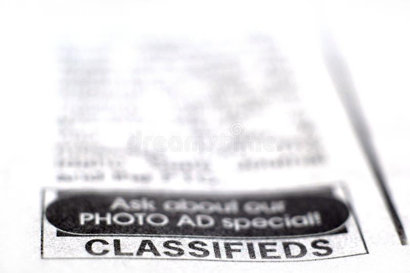 Anúncio classific fotografia de stock royalty free