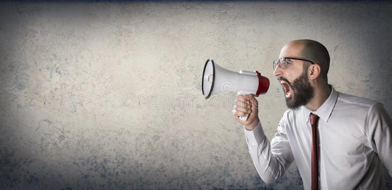 Anúncio com megafone imagens de stock royalty free
