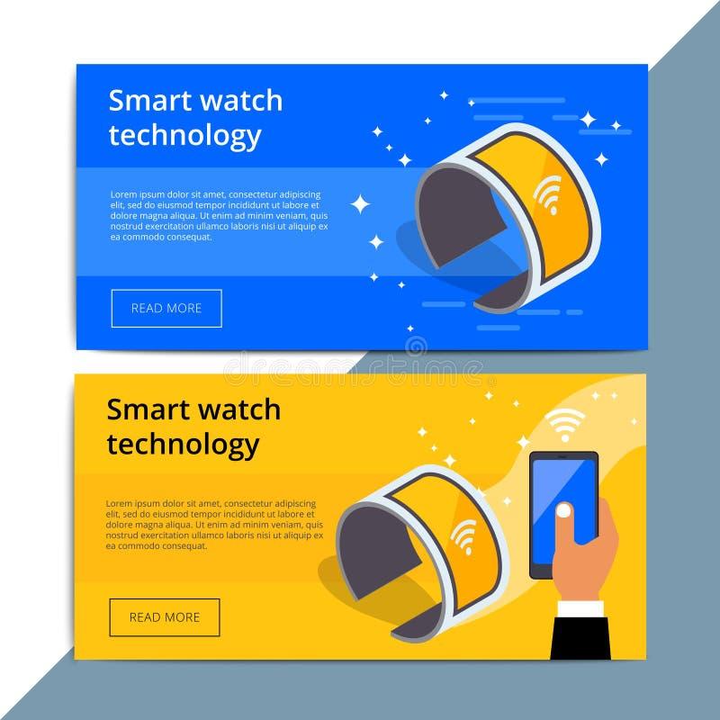 Anúncio da bandeira da Web do promo de Smartwatch Promoção esperta Wearable a do relógio ilustração do vetor