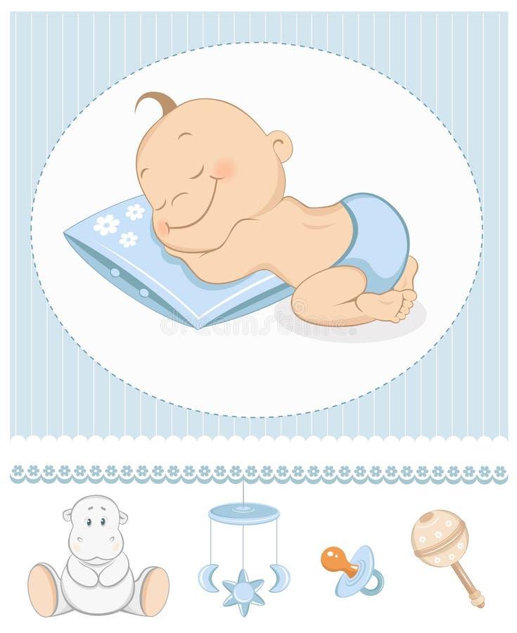 Anúncio da chegada do bebé do sono ilustração royalty free